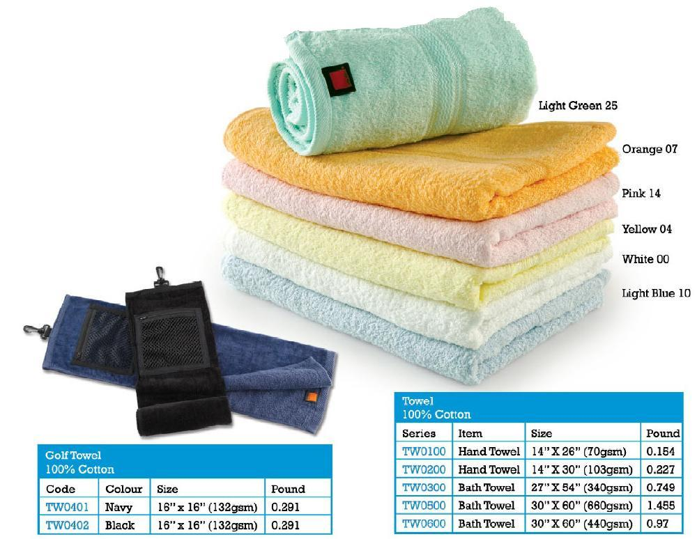 Hand Towel 100 Percent Cotton 14 Inch x 30 Inch 103 Gsm