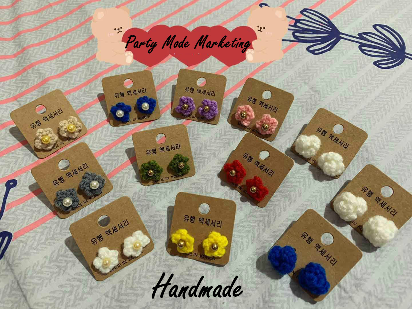 Handmade Crochet Yarn Flower Earrings Girl Fashion Accessories