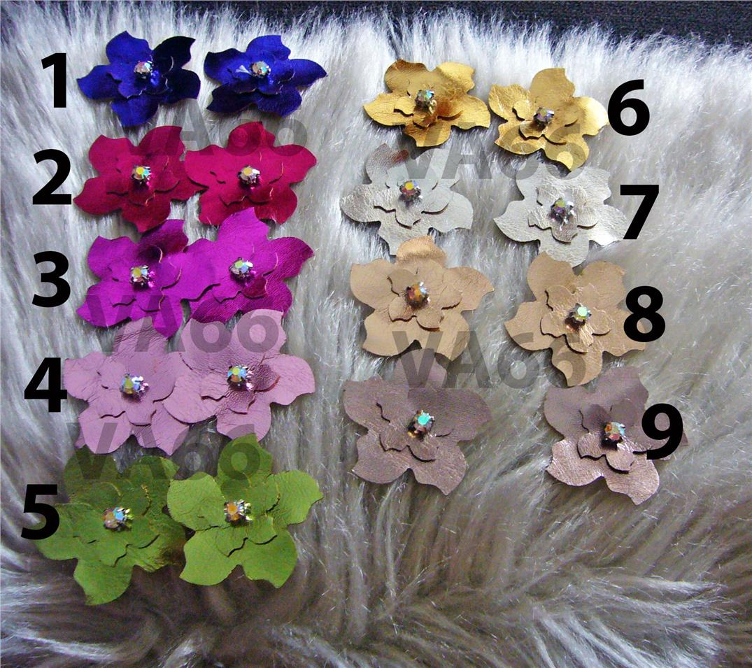 Handmade DIY Faux Leather Flowers 8 Metallic Colors Iron On Applique