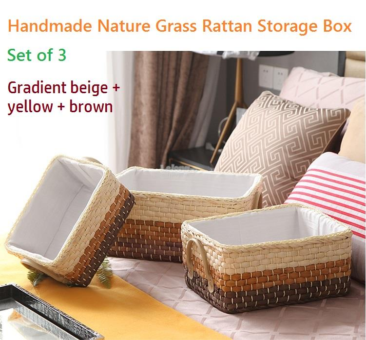 Handmade Nature Grass Rattan Storage Box, Table basket, Shelve Boxes