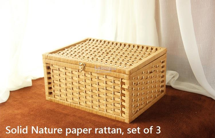 Handmade Nature Paper Rattan Storage Boxes, Basket Rotan, Box With Lid. U2039 U203a
