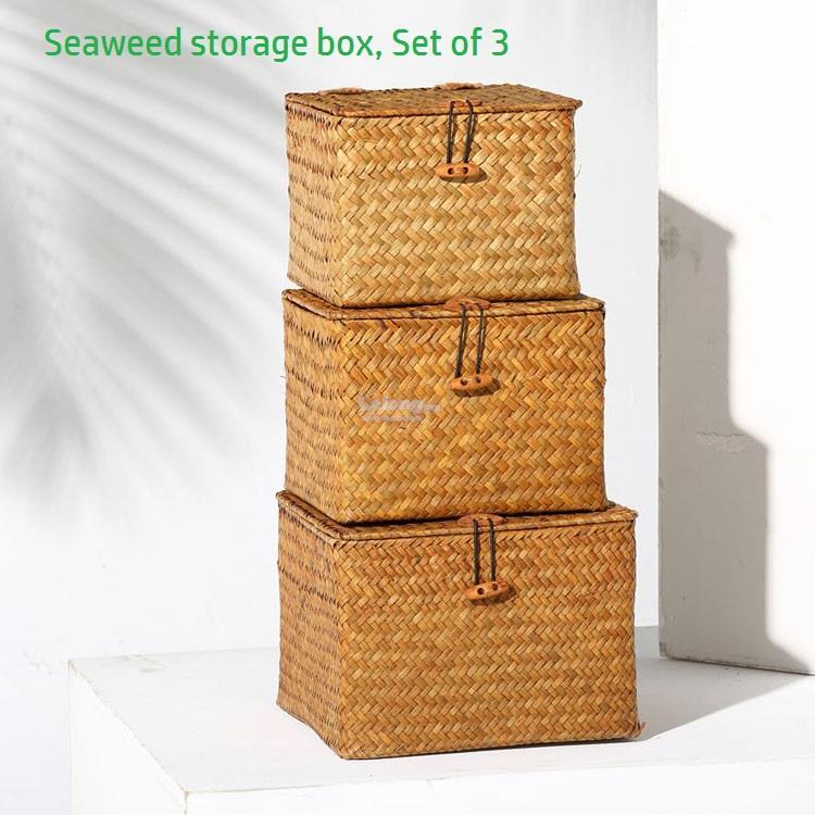 Handmade Seaweed Rattan Storage Box, Lid Basket, Shelve Boxes Set Of 3. U2039 U203a