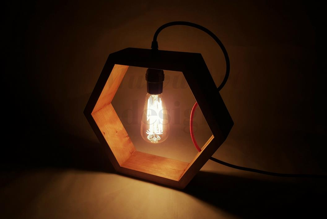 Preferred Handmade Wooden Hexagon Table Lamp (end 10/31/2018 10:24 PM) NU69