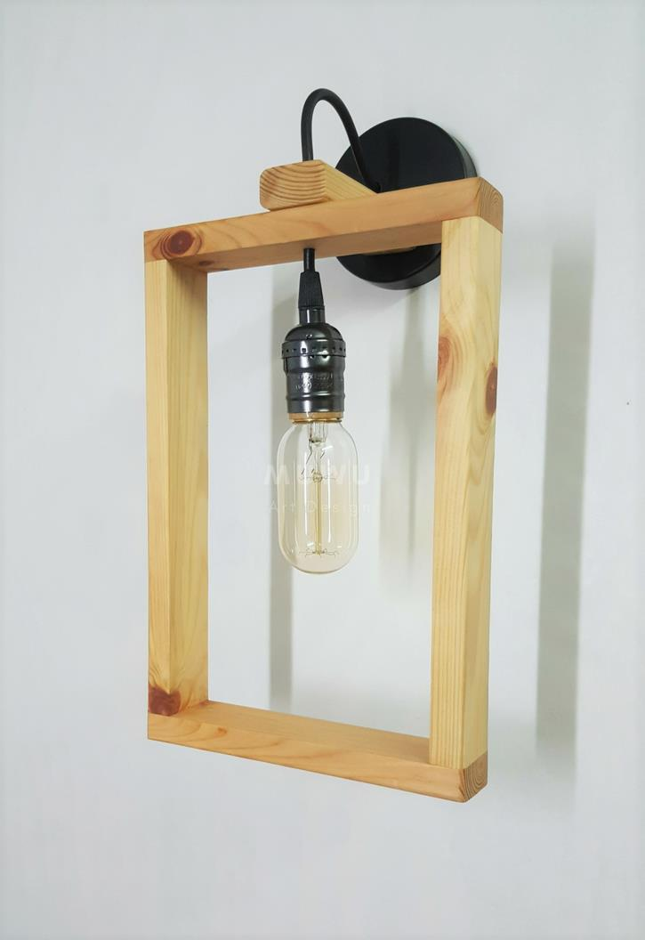 Handmade wooden rectangle wall lamp end 1172018 356 pm handmade wooden rectangle wall lamp with t45 edison light bulb aloadofball Images