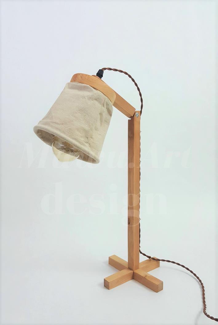Handmade Wooden Sack Lamp Shade Desk With A19 Edison Bulb