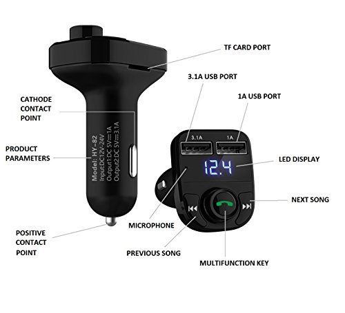 Handsfree Call Car Charger,Wireless Bluetooth FM Transmitter Radio Receiver,Mp