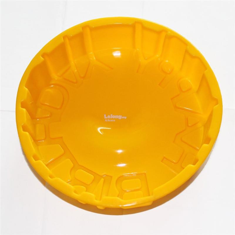 Happy Birthday Round Cake Silicone Mould Mold Soap Jelly