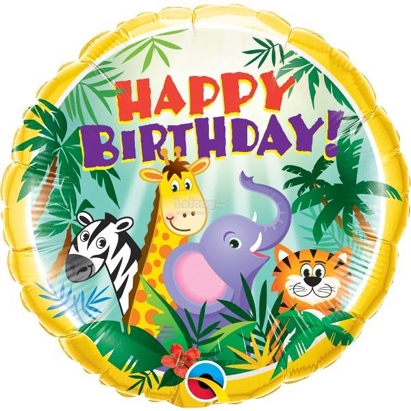 Happy Birthday Jungle Animals 18in Foil Balloon Party Decoration 31007