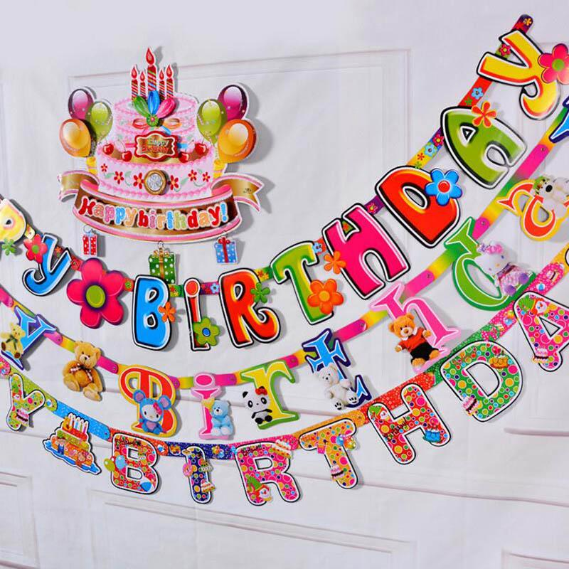 happy birthday letters alphabets banner hanging wall decoration party