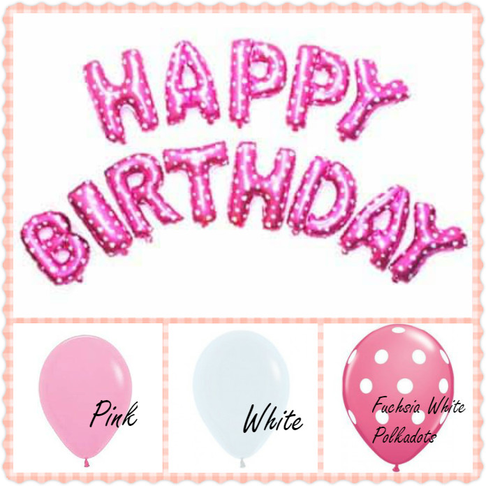 Happy Birthday Pink Polka Dots Decoration Set For Birthday Party