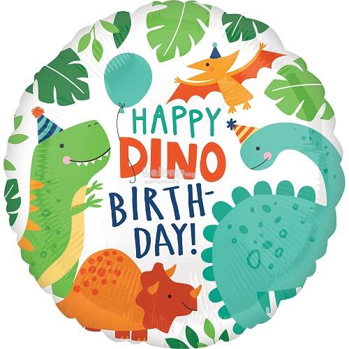 Happy Dino Birthday Dinosaur 17in Foil Balloon Party Decoration 40667