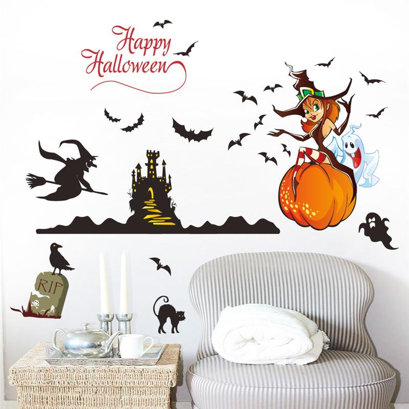 Happy Halloween Decor Witch Ghost Pumpkin Castel Bat Cat Wall Stickers