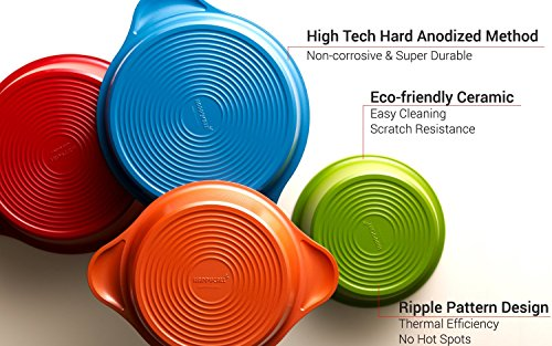 ..// Happycall Hard Anodized Ceramic Nonstick Pot 13-piece Set, Oven Safe, Dis