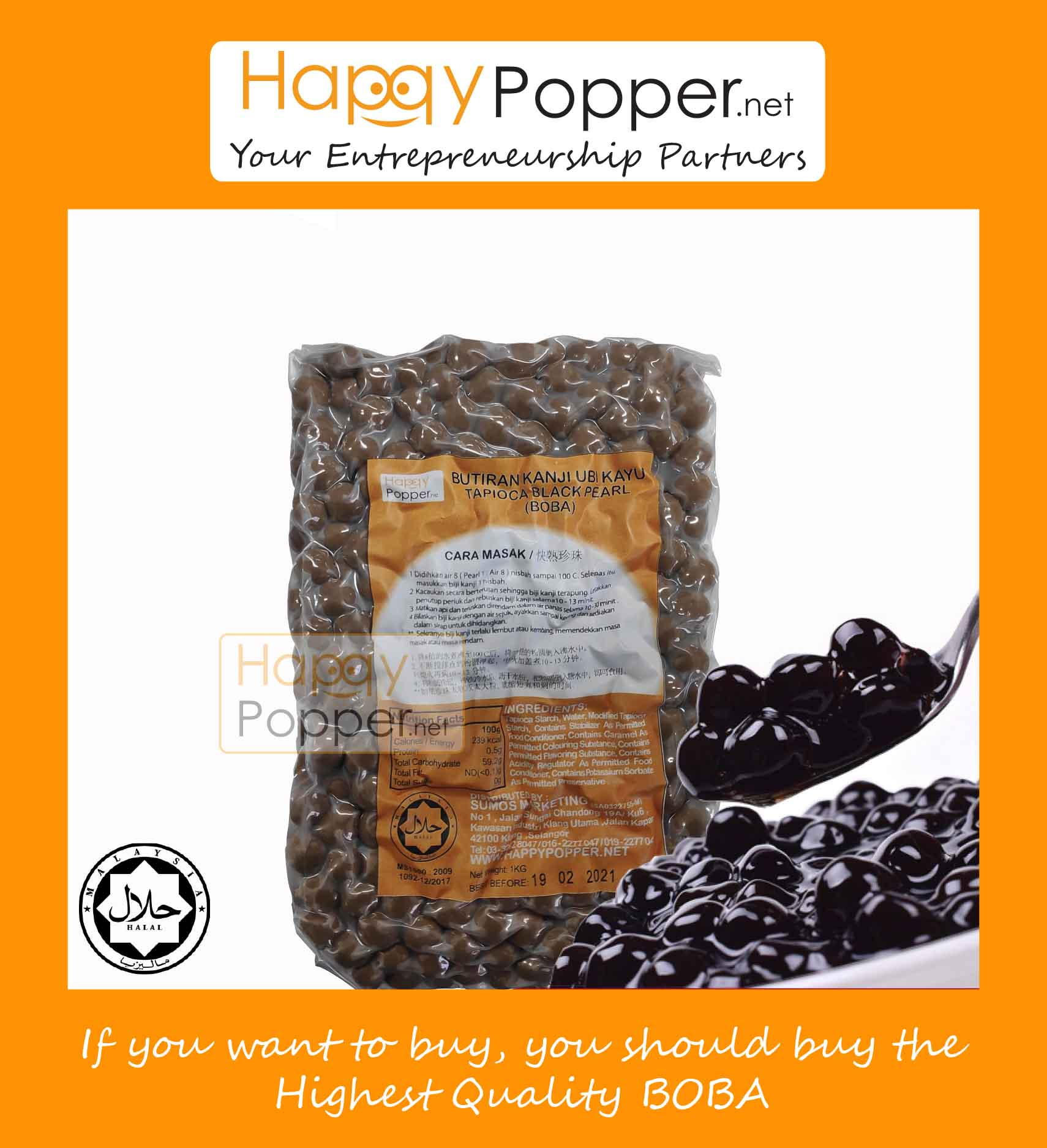 HAPPYPOPPER-BOBA TAPIOCA STARCH BALLS BLACK PEARL 1 KG