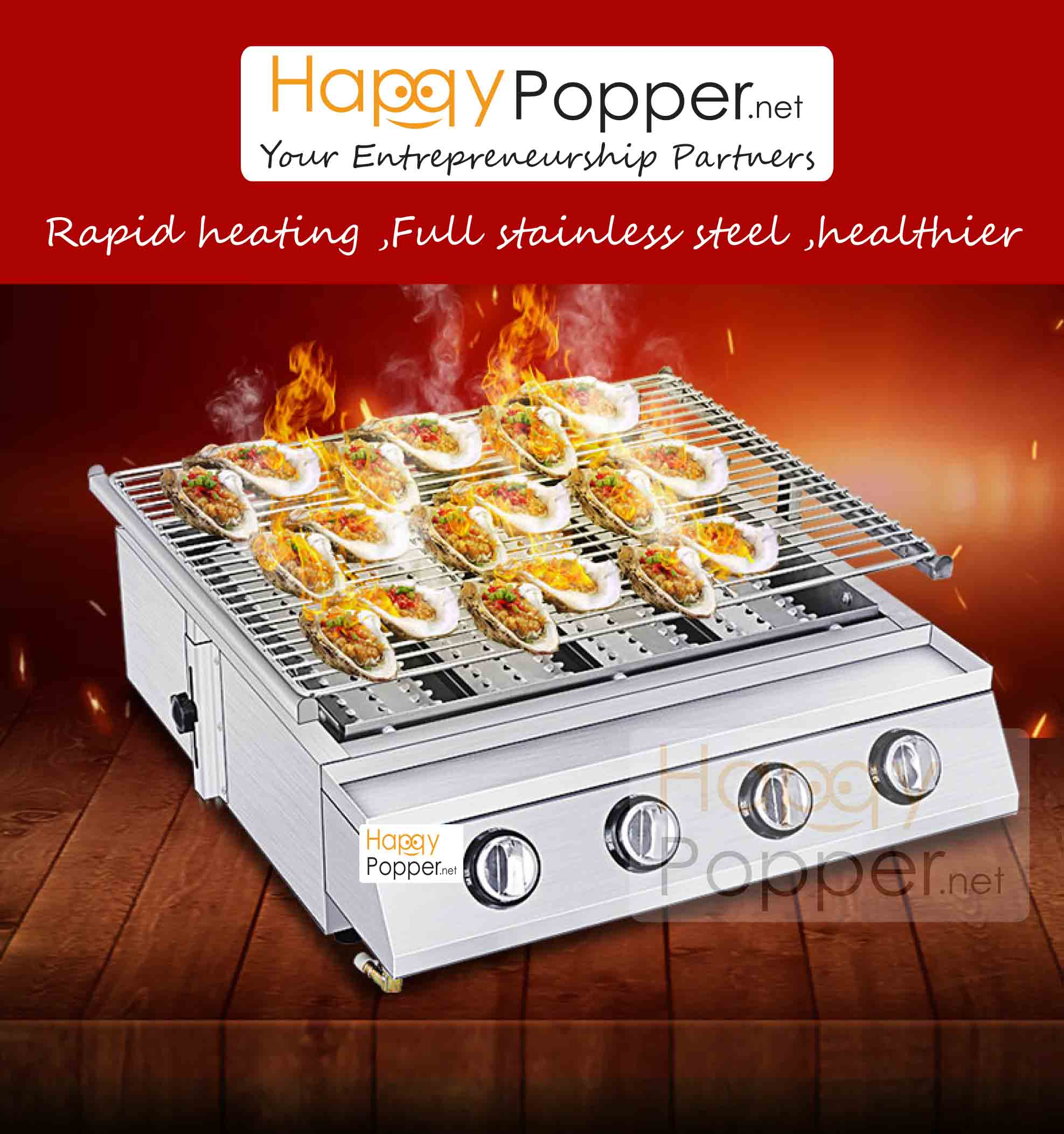 HAPPYPOPPER-FULLY S.S BBQ GRILL ( GOLD LEVEL ) K224