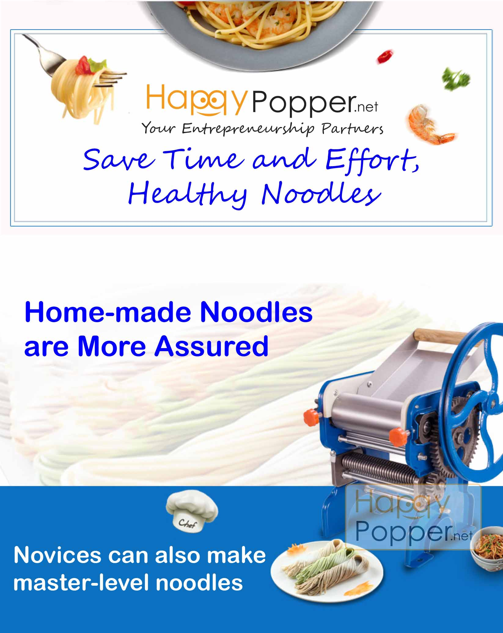 happypopper - manual pasta machine M-150 MANUAL BLUE PASTA MACHINE XXL