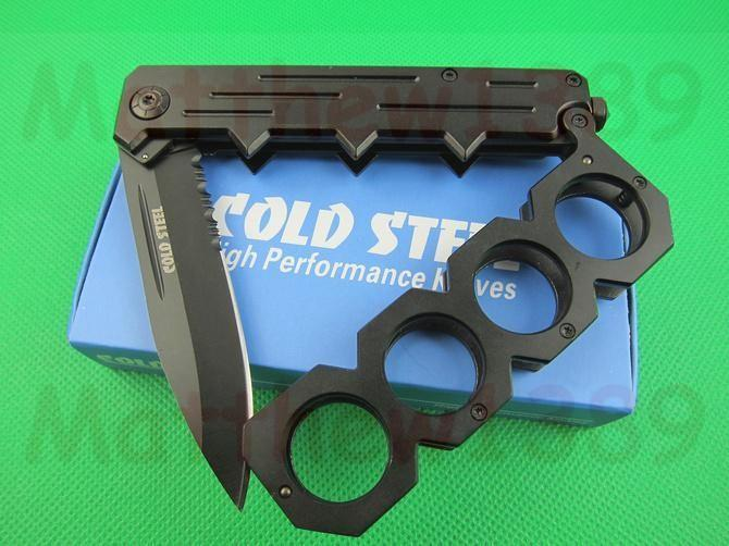 Hard Iron Four Fingers Rings Self Defense Folding blade knife B088