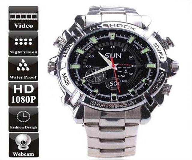 HD 1080P 16G S/Steel Waterproof Spy Watch Night Vision