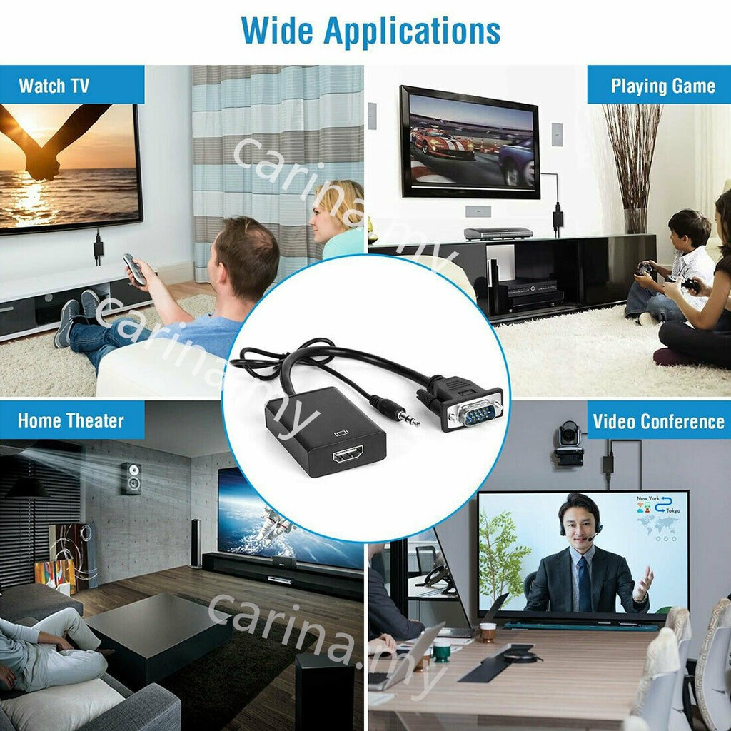 HD 1080p VGA Male To HDMI Female Video Converter Adapter 1080p With US