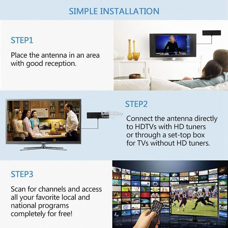 HD FREE TV HD Digital TV Antenna Without Extra Cable Boxes And Wires