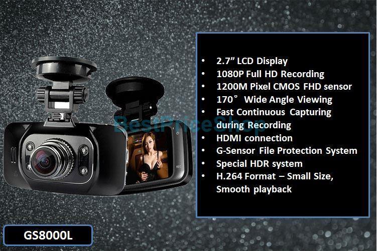 HD1080P Taiwan Ori Novatek Chipset GS8000L Car DVR Camera Night Vision