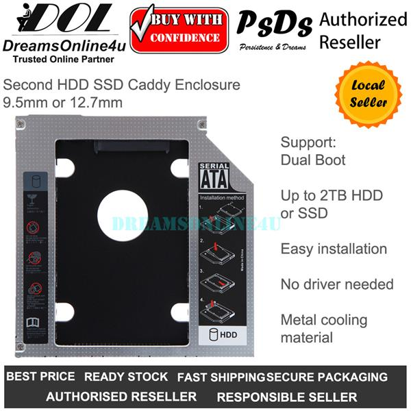 Second HDD SSD Caddy Enclosure 9 5mm 12 7mm Acer Asus Dell HP Lenovo
