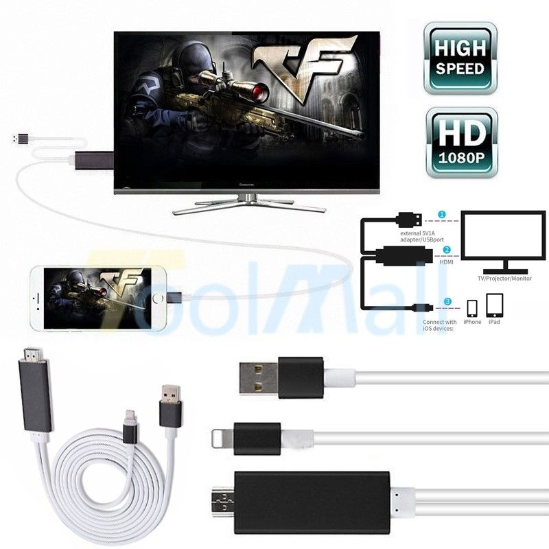 HDMI AV Adapter Video Cable for iPad iPhone X XS MAX XR 8 7 6 Plus 5s