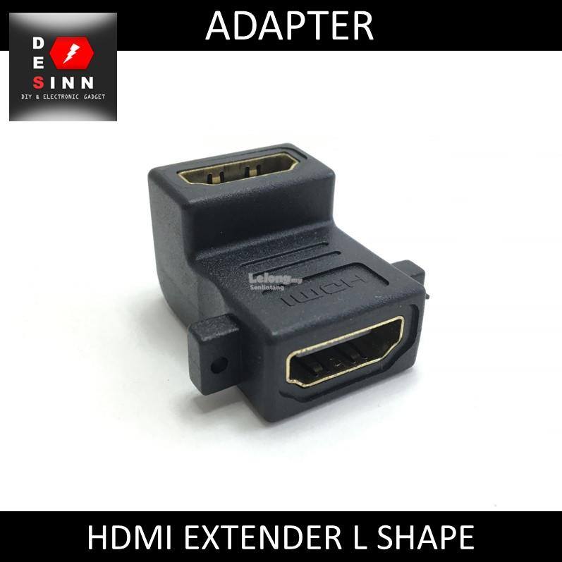 HDMI EXTENDER FEMALE TO FEMALE L SHAPE ADAPTER CONVERTER