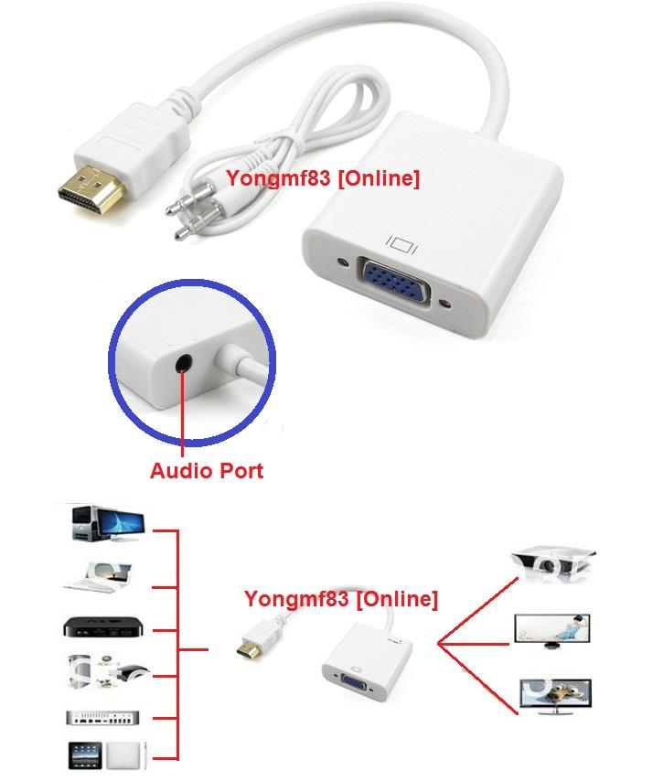 HDMI Male to VGA Female Cable with Audio Output Line (CP-C-106)