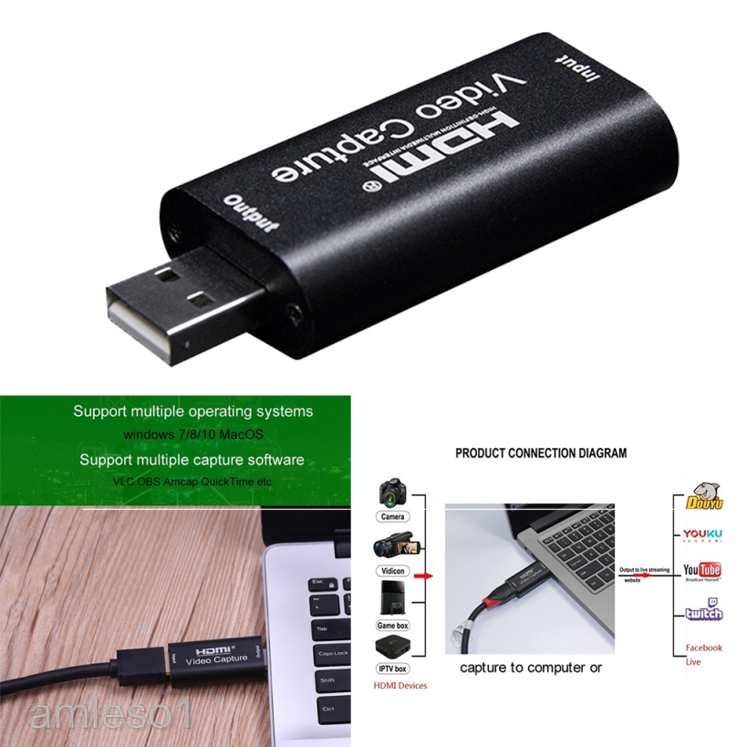 HDMI To USB 4K 1080p Audio Video Capture Card USB3.0  - [30HZ USB 2.0]