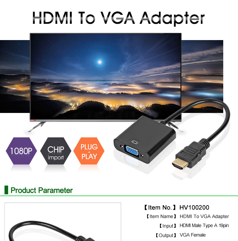 HDMI to VGA Adapter to Analog Video For PC Laptop TV?Tablet