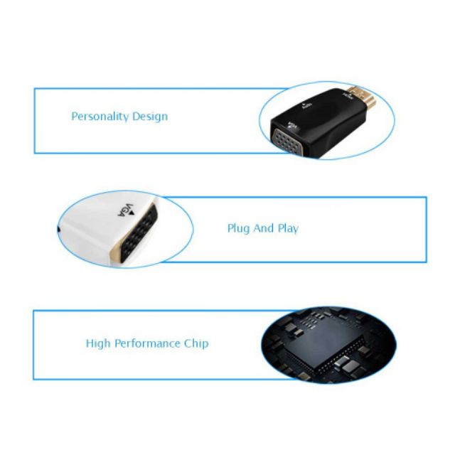 HDMI to VGA Audio Output Cable mini HDMI 1080p 2k to VGA Adapter Male for PC /