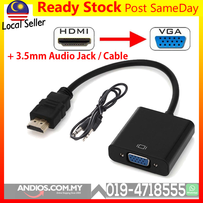 HDMI to VGA Converter Adapter with 3.5mm Audio
