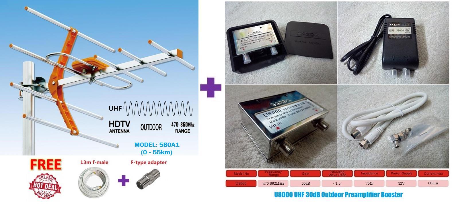 HDTV Analog & Digital TV Signal UHF Amplifier Filter Booster 30dB