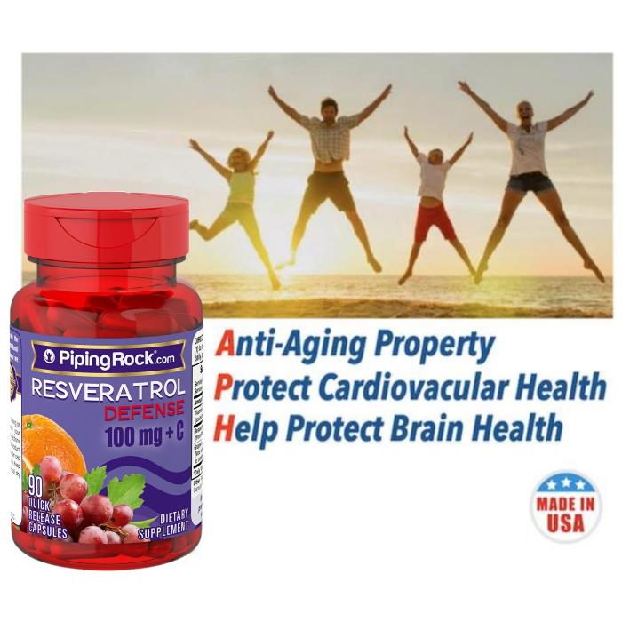 Healthy Brain & Cardiovascular, Resveratrol Defense + Vit C, 90 Caps