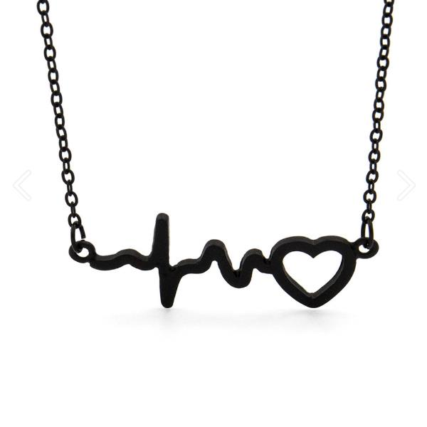 You Have My Heart Beat Necklace Clavicle Chain - black