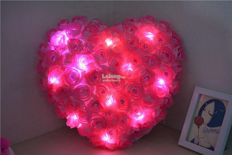 Heart-Shaped Rose Pillows