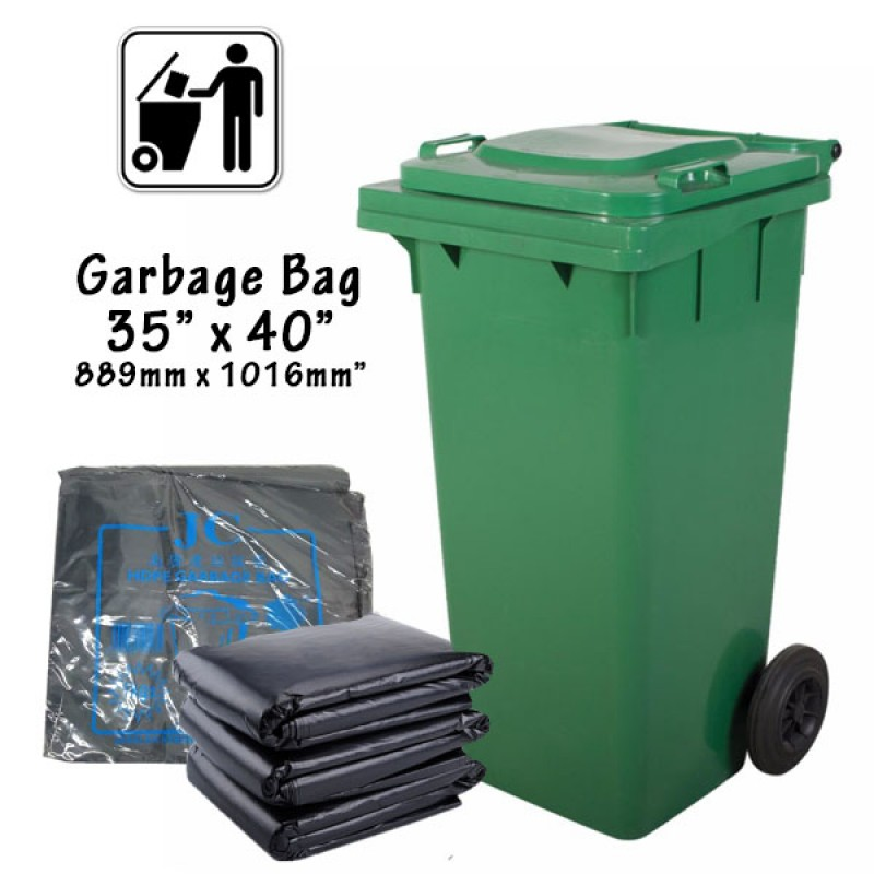 "Heavy Duty Extra Large Garbage Bag Plastic 35"" X 40"" Black 10pcs/Pack"