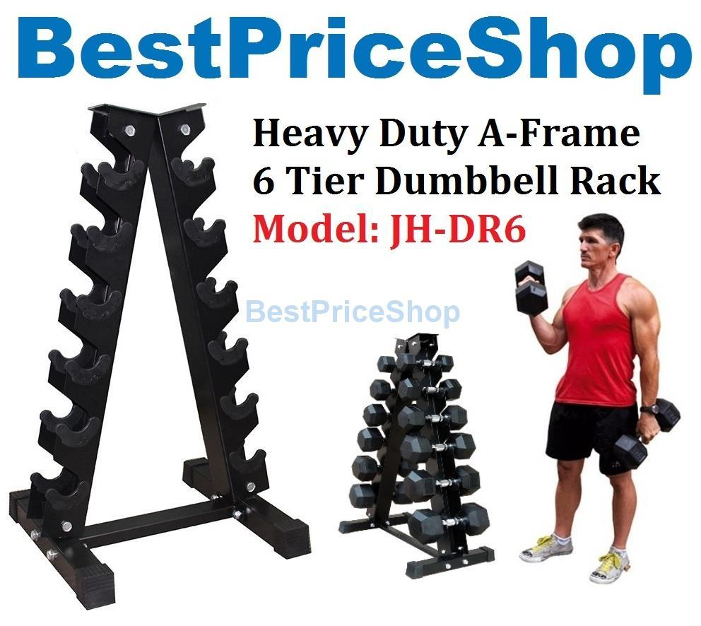 Heavy Duty A Frame Dumbbell Rack 6 Tier Holder Storage Stand JH-DR6