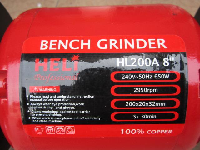 "Heli 650W 8"" Heavy Duty Industry Bench Grinder"