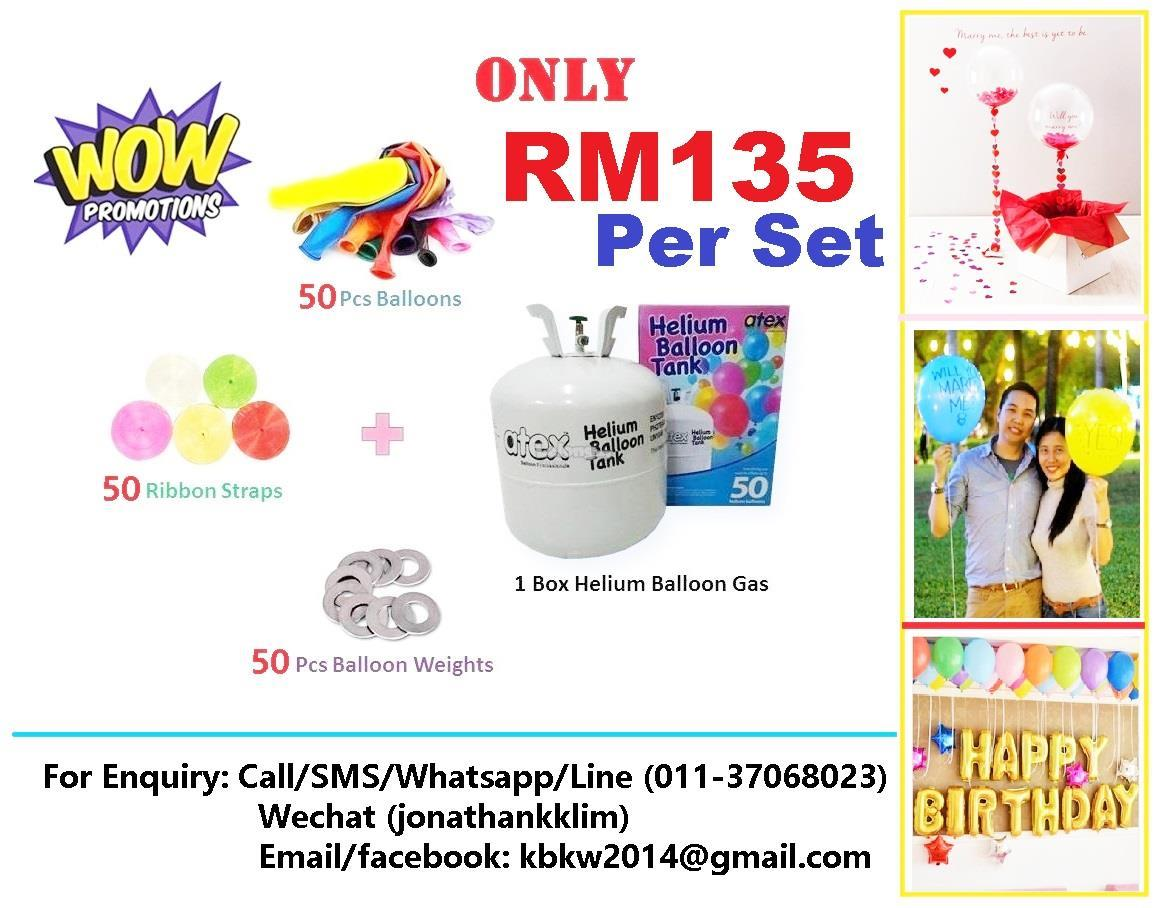 Helium Gas Balloon Gas Package Promotion! Only RM135 Per Set Free Ship