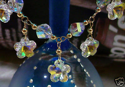 Helix Flower 14k Gold Filled Swarovski Crystal Charm Bracelet Suasa