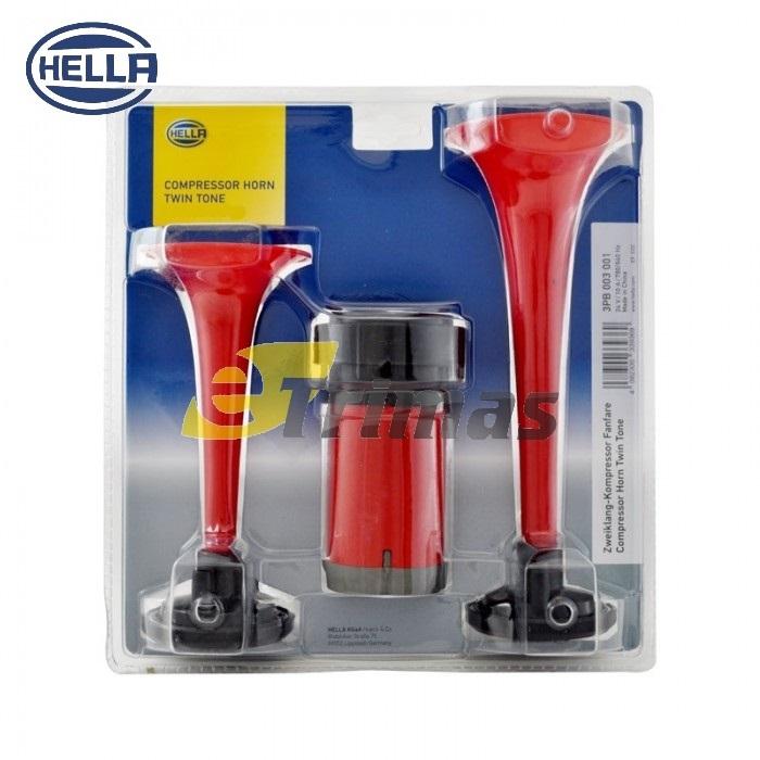 Hella Heavy Duty Car Lorry Truck Motor Dual Tone Trumpet Air Horn Kit 12V  24V