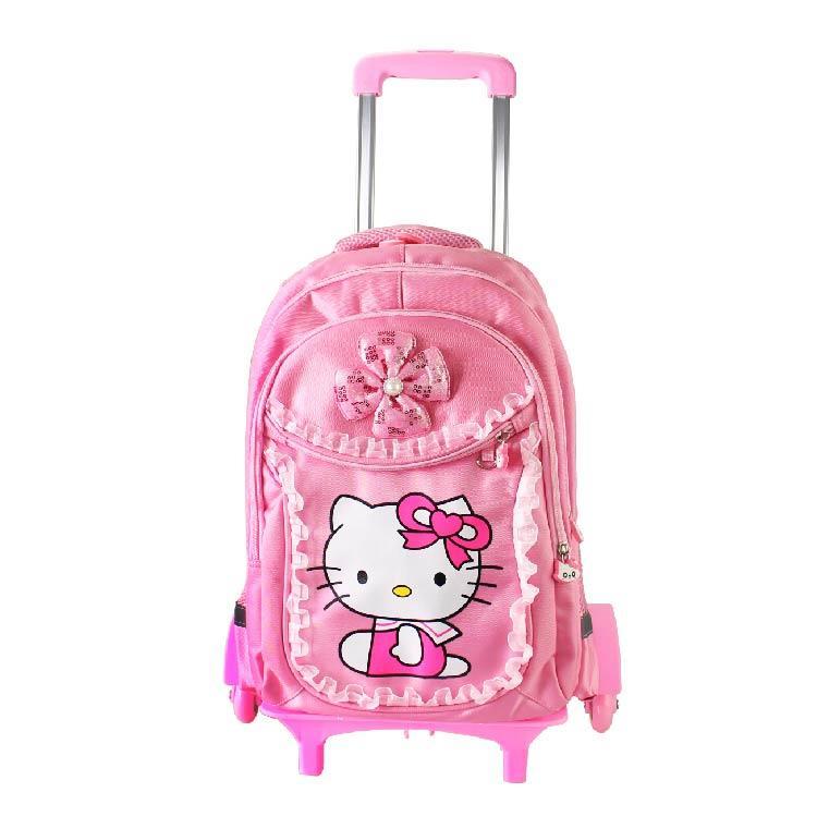 d6284d3b3ad1 Hello Cute Kitty School Bag 6 Wheels Trolley Cartoon Kids Bag Unisex