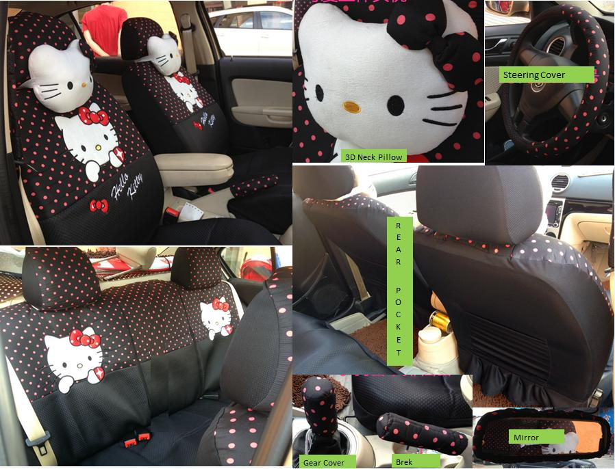 Hello Kitty Car Seat Cover (black polka dot)