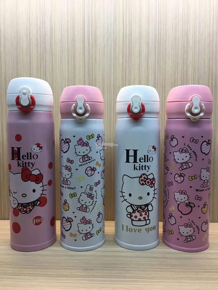 Hello kitty cartoon cute thermos Vacuum Flask - Pink + White Cap