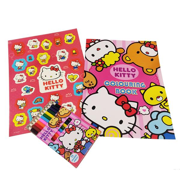 HELLO KITTY COLORING BOOK WITH COLOR PENCIL SET