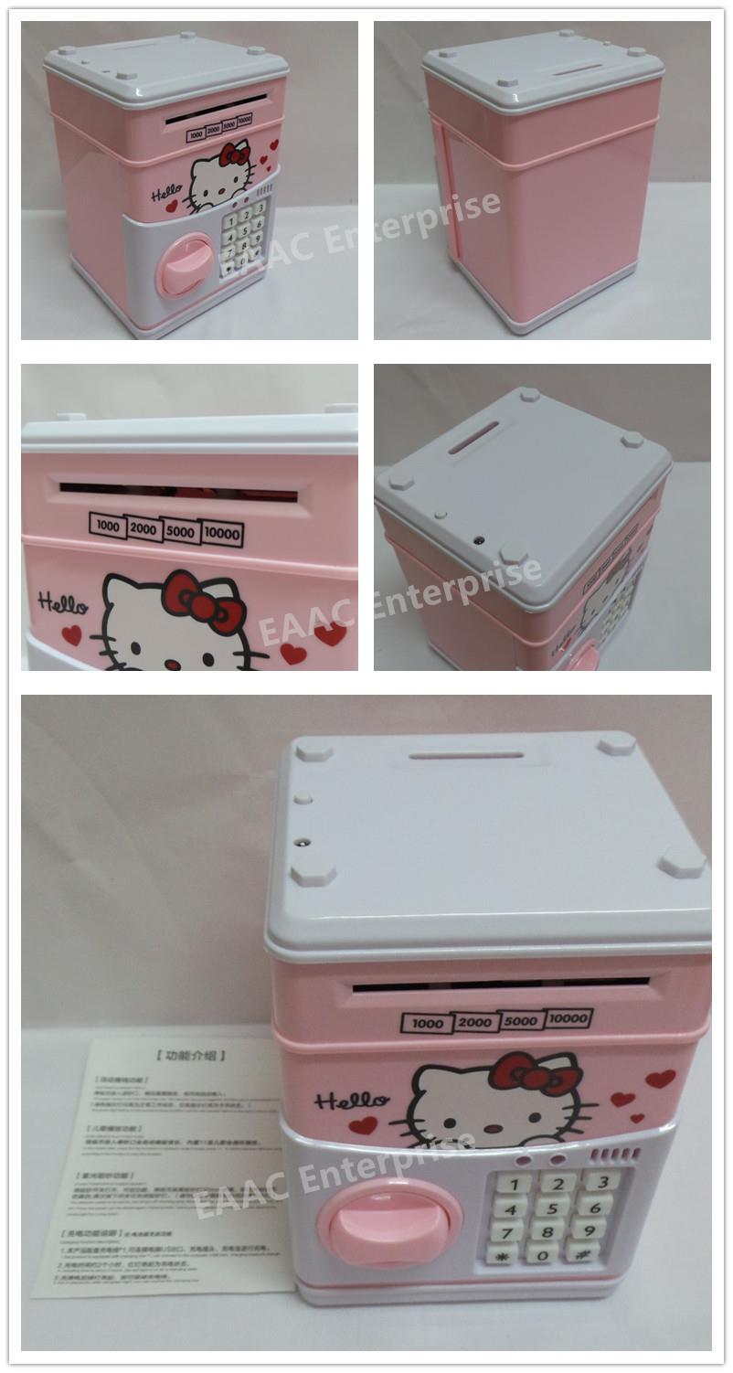 63e187493 Hello Kitty Money Saving Box Coin Bank Safe Deposit Box Security Box
