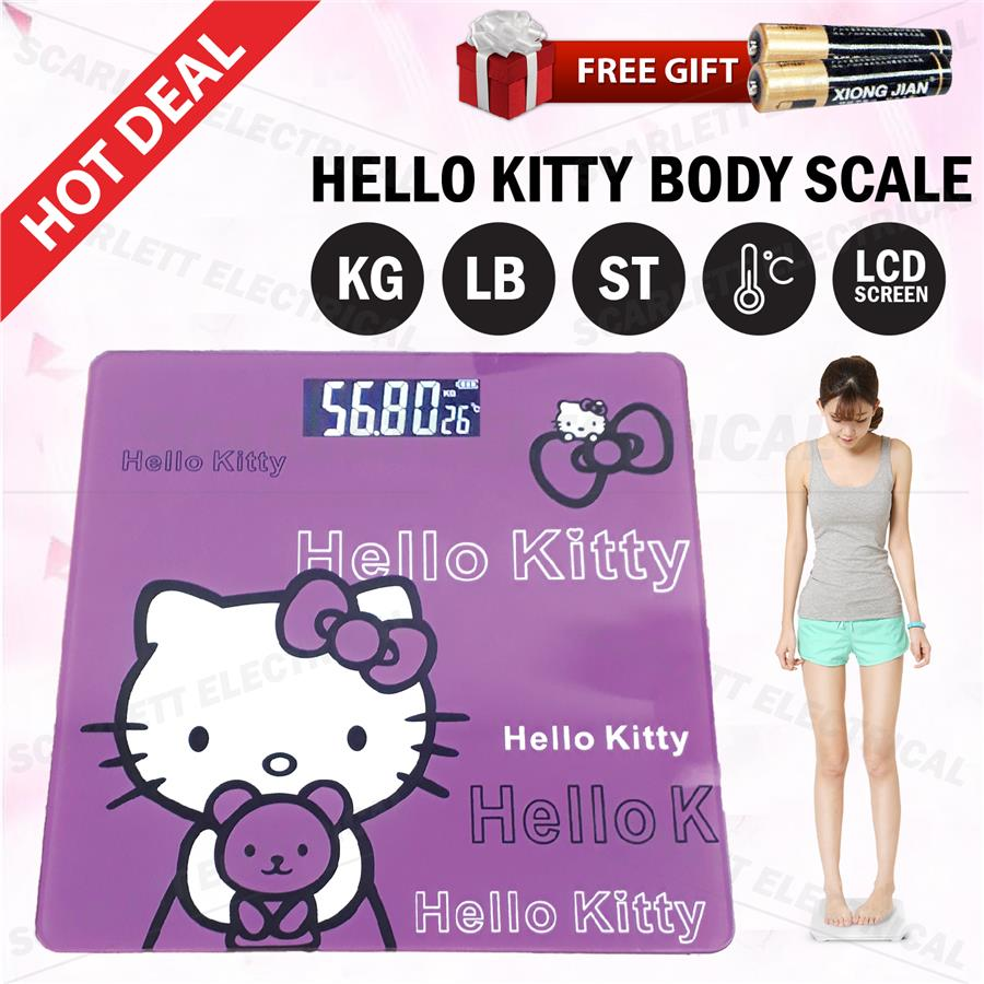 1a6877357 Hello Kitty Personal Weight Body Scale LCD Digital Screen Bathroom. ‹ ›