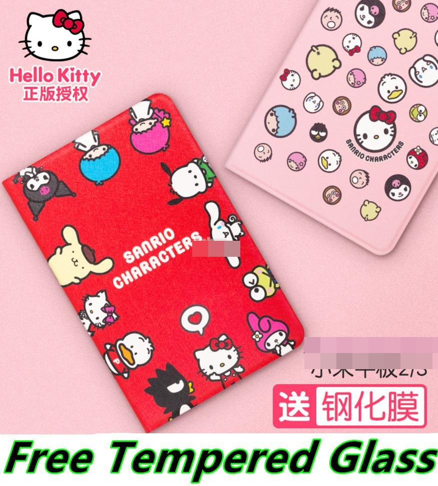 Hello Kitty Xiaomi Mi Pad 2 3 Smart Case Cover Casing + Tempered Glass
